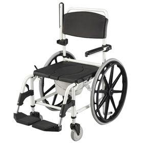 Sedia da doccia e da comodo con ruote grandi da carrozzina - Sedia da bagno per disabili ...